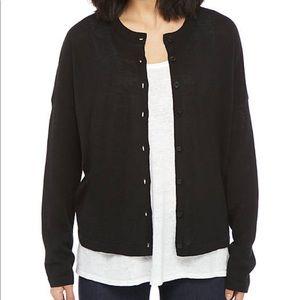 NWT Eileen fisher black round neck cardigan